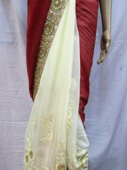 Red Embroidery Saree - (AE-001)