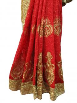 Red Double Weaving Saree - (AE-002)
