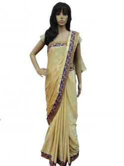 Cream Colored Party Wear Saree - (AE-003)