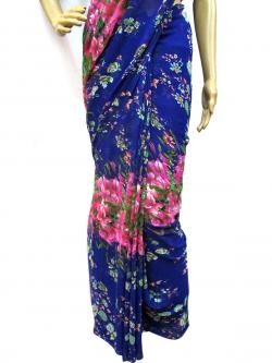 Blue Floral Casual Saree - (AE-004)