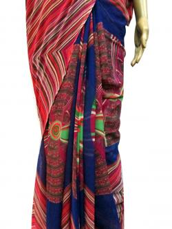 Blue & Pink Printed Casual Saree - (AE-005)