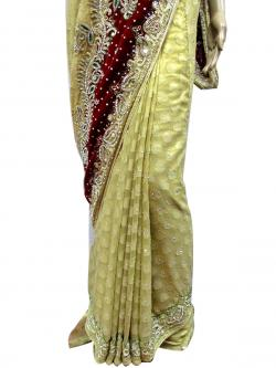 Cream Color Embroidery Saree - (AE-008)