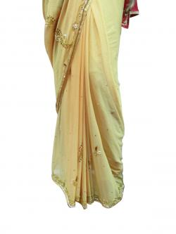 Yellow & Pink Embroidery Saree - (AE-009)