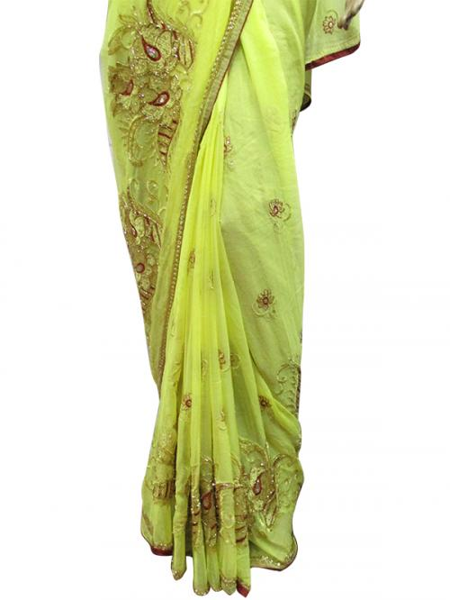 Yellow French Chiffon Saree - (AE-011)