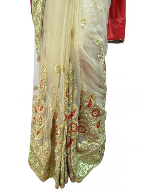 Red Embroidery Saree - (AE-012)