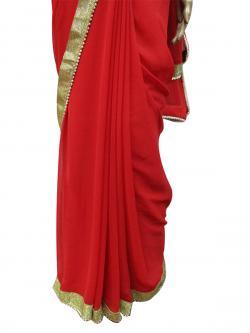 Plain Red Saree - (AE-014)