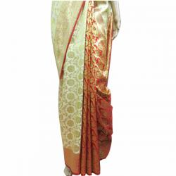 Golden Color Banarashi Saree - (AE-017)