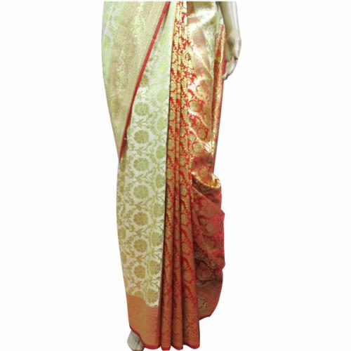 Golden Color Banarashi Saree - (AE-017)