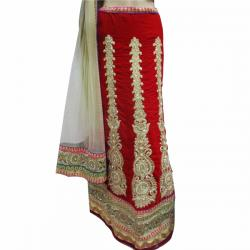 Red & Golden Embroidery Lehenga - (AE-019)