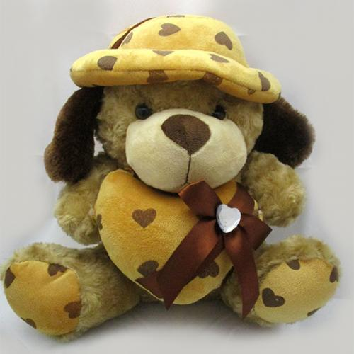 Multicolored Teddy Bear With Heart Soft Toy - (ARCH-265)