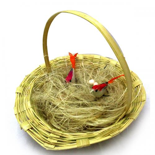 Nice Couple Artificial Handmade Birds Fake in Natura Hay Nest Gift - (ARCH-451)