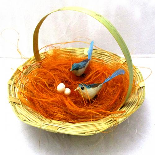 Nice Couple Artificial Handmade Birds Fake in Natural Hay Nest Gift - (ARCH-449)