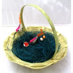 Nice Couple Artificial Handmade Birds Fake in Natural Hay Nest Gift - (ARCH-450)