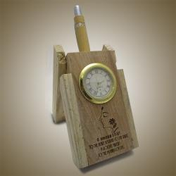 Personalized Laser Engraved Wooden Folding Pen Stand with Analog Clock - (ARCH-338)