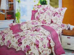 Pink Rose Flower Print Double Bed Bed Sheet (GW-DBB-003)