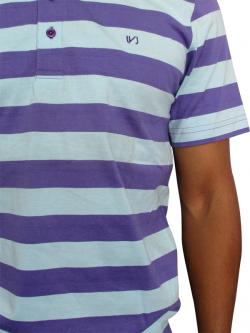 Purple & Grey Casual T-shirt With Polo Neck and Half Sleeve - (T1009)
