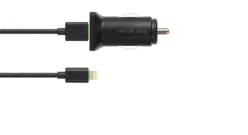 Revolt Duo - Dual Port Usb Car Charger With Lightning Cable - (APP-100)