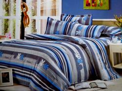 Rock Paper Scissors Printed Blue Cotton Beddings (GW-238)