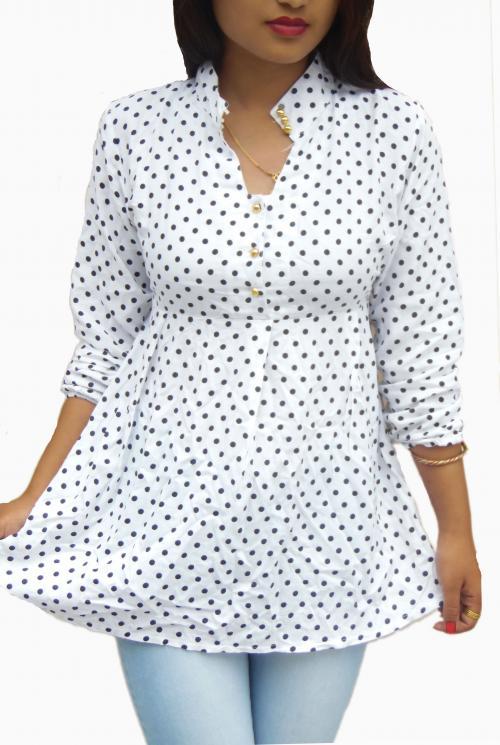 White Printed Polka Dot Tshirt