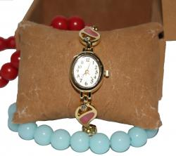 Gold Plated Stone Studded White Dial Watch for Ladies