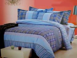 White and Blue Chequed Cotton Beddings (GW-237)