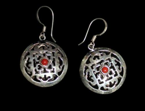 Silver Double Side Mandala Design Earring