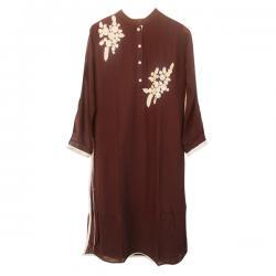 Designer Georgette Dark Brown Long Tunic MC-0005