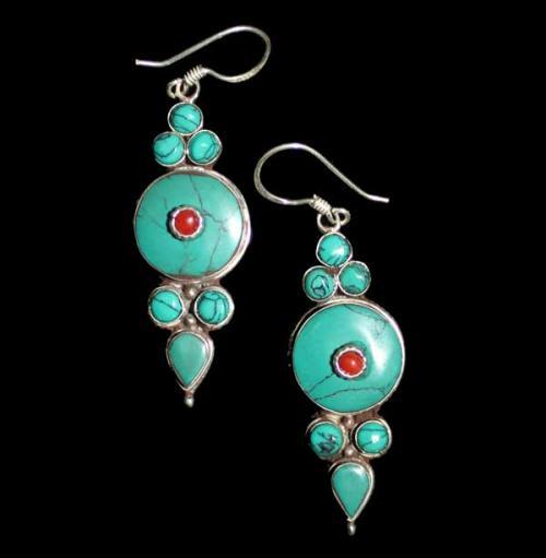 Round Tibetan Multistone Earring