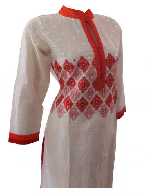 Cotton Kurti Thread Work Sarara Set