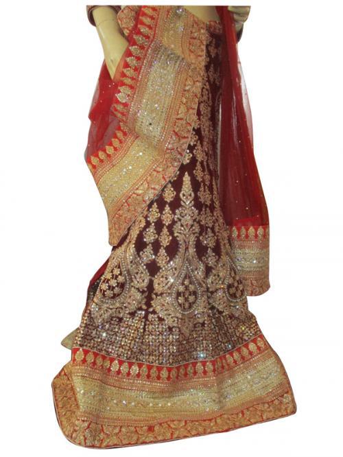 Bridal Wedding Lehenga, Jari Work With Stone & Velvet Ruby Design Blouse