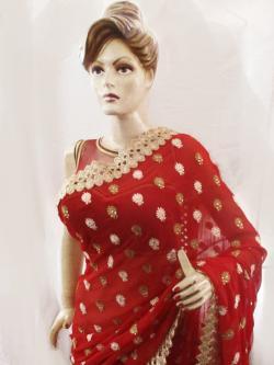 Bridal With Border Saree, Jorget Saree, With Velvet Ruby Design Blouse