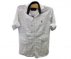 White Mens Checker Shirt - 100% Cotton