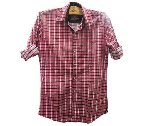 Red Mens Checker Shirt - 100% Cotton