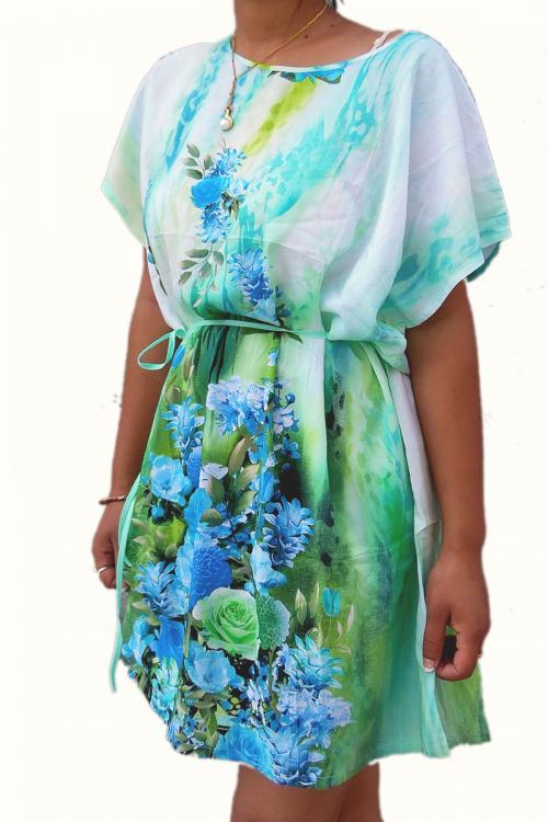KIMONA FLOWER PRINT SUMMER DRESS FOR LADIES
