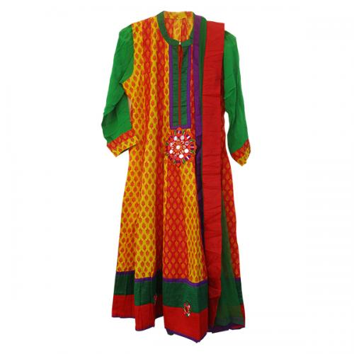 Multi Coloured Stiched Kurta With Net Duppatta (SC-528)