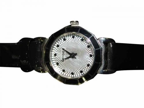 Geiger Black Leather Strap Watch For Women (GE-380)