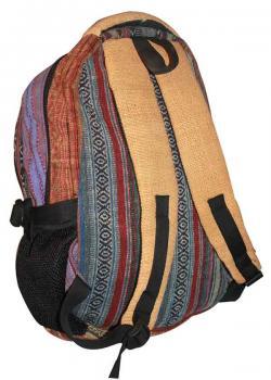 Blue line colorful Silk Hemp cotton jute bag (DT-HB-012)