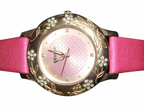Geiger Pink Leather Strap Watch for Women (GE-370)