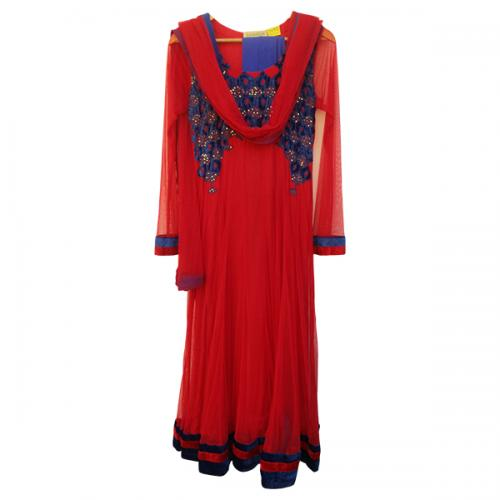 Red Net Anarkali Suit (SC-875)