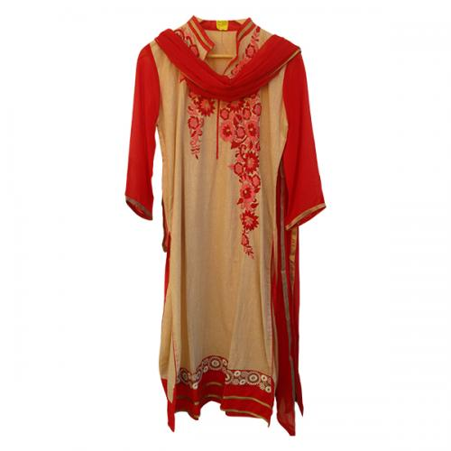 Soft Cotton With Gorget Sleeves and Duppatta