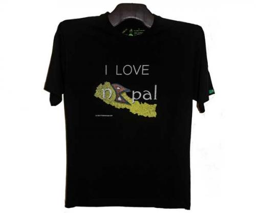 Black I Love Nepal Printed T-Shirt