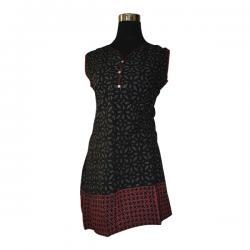 Black Printed Sleeveless Kurti - (SARA-019)