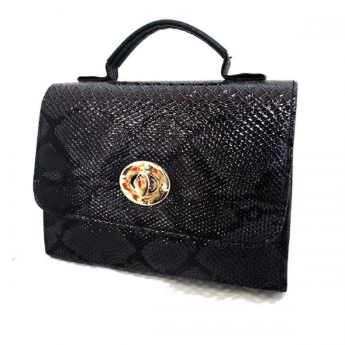 Black Shiny Side Bag For Ladies - (LAC-021)