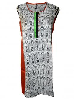 Black & Whited Printed Kurti - (SARA-005)