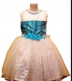 Blue Sequence Covered Frock With White Tissue Top - (JU-062)