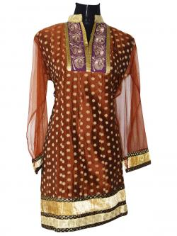Brown Long Printed Kurti With Full Sleeve - (SARA-010)