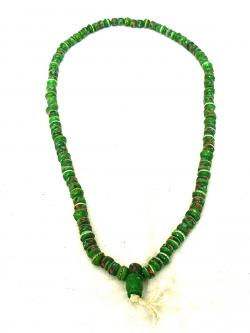 Green Yak Bone Beads Mala - (NH-028)