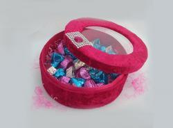 Elegnt Velvet Pink Round Box (TCG-017) - 50 pieces in a set