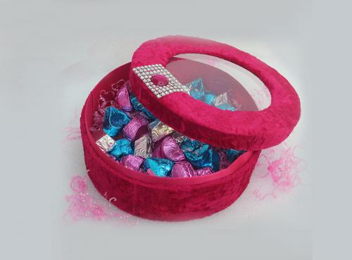 Elegnt Velvet Pink Round Box (TCG-017) - 50 pieces in a set