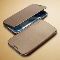 Galaxy Note 2 Case Ultra Flip Metallic Brown - (OS-098)